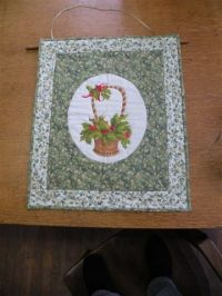 Victorian Holly Basket Wall Hanging
