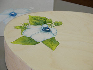 Blue Hibiscus on Brides Box-(Artistic License)