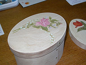 Pink Pietre Dura Rose on Oval Box